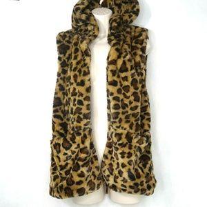 Love Tree Faux Fur Jacket Vest Hooded Cheetah